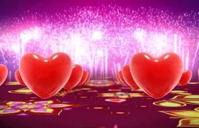 紅色愛心浪漫穿梭絢爛煙花震撼慶祝婚禮特效視頻素材