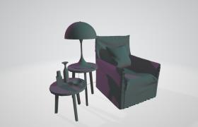 书房单人沙发座椅室内一角家居装饰布局摆件C4D模型