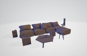 米色慵懒风室内客厅装饰家具布局摆件C4D模型