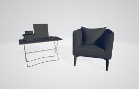 简约雅致风格室内休息厅桌椅套件C4D模型(含材质)