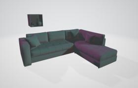 90°橫豎直角拼接設計家居客廳沙發套裝C4D高檔家居模型
