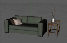 朴素绿色长条沙发座椅客厅家居摆件C4D模型(含材质)