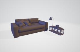 暖色系温馨室内客厅家居沙发套件C4D高精度模型