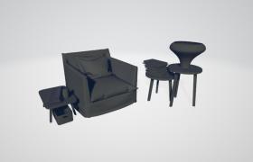 家居陽臺休閑軟性座椅套件C4D高精度模型(含材質)
