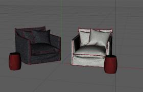兩個顏色結構分明的家居單人沙發座椅C4D模型