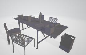 高品質室內裝飾設計雅致簡約客廳餐桌座椅套件C4D模型