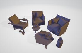 六边形子母茶几桌客厅休闲沙发座椅室内场景C4D模型展示