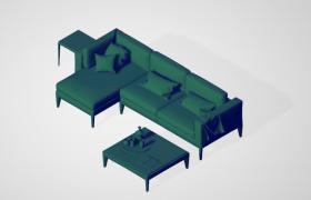 品质沙发室内客厅成套家居C4D模型预设下载