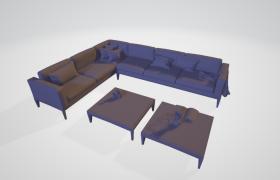 大型商务豪华沙发皮质座椅套件C4D室内建模展示