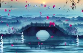 小橋流水水墨丹青特效花瓣柳枝動態視頻素材
