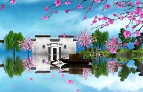 江南水鄉粉色花朵凋零清新彩繪水墨動畫特效視頻
