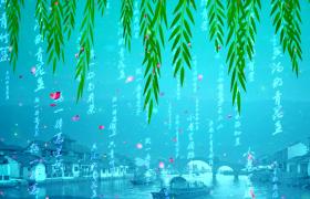 江南水鄉動態美景花瓣柳枝唯美演繹HD特效視頻素材