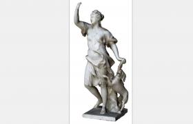 狩獵女神戴安娜Diana手牽獵犬的人物藝術形象雕塑c4d模型(含貼圖)