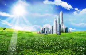 藍天下現代城市綠蔭草地上矗立清新特效視頻素材