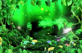 清新綠色森林熒光蝴蝶夢幻光斑中飛舞HD特效視頻素材