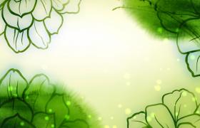 彩繪綠色荷葉水中蕩漾綠色光斑漂浮HD特效視頻素材