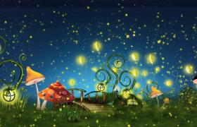 蘑菇草地黑夜荧光闪烁MP4儿童欢庆特效视频