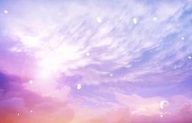 炫彩夢幻天空美麗花瓣上空飛揚唯美治愈特效視頻素材
