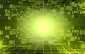 綠色熒光立方體隧道穿梭HD科技特效視頻素材