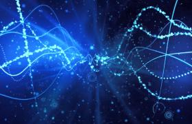 蓝色光波数据链延长粒子动态悬浮科技特效视频素材