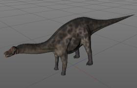C4D侏罗纪恐龙模型:脊背耸起的蜥蜴长尾叉龙模型展示
