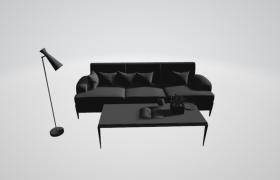 简约灰色沙发室内精美家居促销场景c4d模型(含材质及贴图)