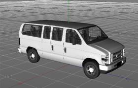 10座中小型载客运输车福特面包车C4D模型