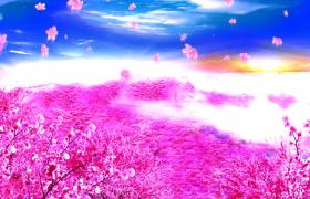 粉色桃林花海花瓣漂亮凋零唯美片頭特效視頻素材