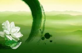 綠色水墨暈染背景茉莉花唯美演繹LED舞臺背景視頻