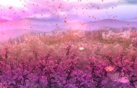 粉色浪漫花海空中花瓣絢麗飛舞LED舞臺背景視頻