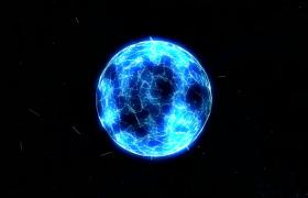 藍色閃電光線圓球炸裂超炫科技特效視頻素材