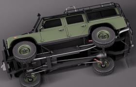 军绿色极致越野性能路虎卫士军用硬派四驱吉普3D模型