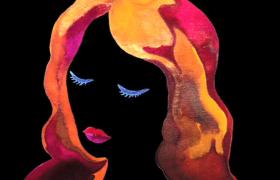 水彩流体女人玫瑰绚丽变幻MOV特效视频素材