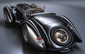 奔驰Mercedes-Benz SS级Roadster精致黑漆涂装复古老爷车C4D模型