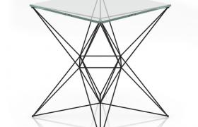五维立体创意性桌脚支架设计透明玻璃桌C4D模型(含贴图)