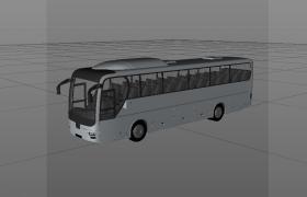 户外出游旅行长途客运大巴车C4D大型交通工具模型