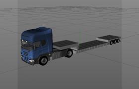 工业交通运输设备大型半挂式牵引车C4D商用车辆模型