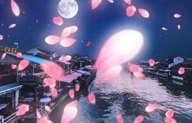 圓月星夜江南水鄉花瓣浪漫飛舞節日特效視頻素材