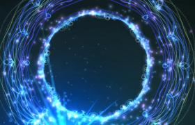 蓝色光线漂亮圆环演绎光效震撼照射HD特效视频素材