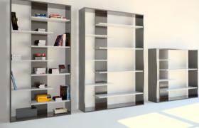 簡約階梯創意設計純木質圖書書籍陳列展示墻柜C4D模型