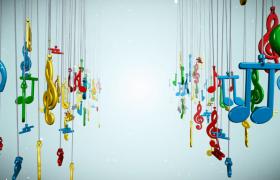 七彩音符三維空間動感懸掛搖擺LED舞臺背景視頻