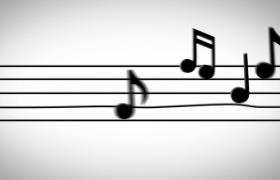 黑色音符五线谱上活泼跳动音乐特效视频素材