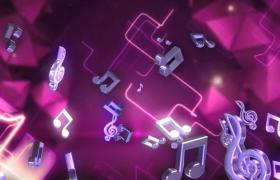 紫色光線動態背景金屬音符動感懸浮LED舞臺背景視頻