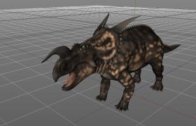 C4D角龙科恐龙:小型食草性爱氏角龙模型(含材质)