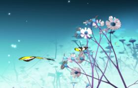 清新鲜花摇曳彩蝶动态飞舞MOV动画特效视频素材