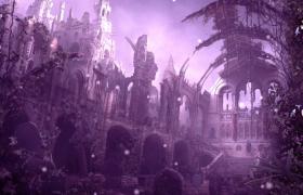 紫色古老夢幻城堡白色粒子浪漫懸浮LED舞臺背景視頻素材