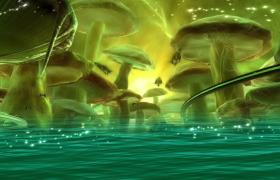 绿色光效蘑菇水面粒子洋溢HD儿童动画视频素材
