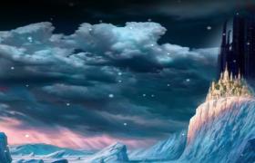 山頂夢幻城堡雪花粒子浪漫飄落LED舞臺背景視頻