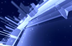 藍色幻影虛擬城市熒光粒子絢麗飛灑科技特效視頻素材