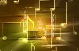 金属音符围绕音响旋转光效震撼演绎LED舞台背景视频